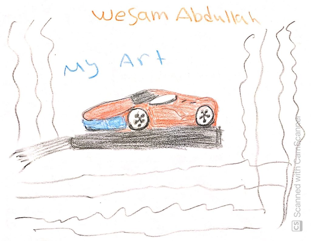 drawing of a red race car