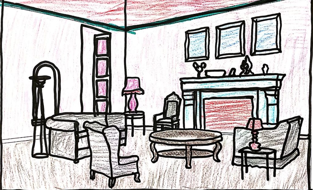 drawing of a room with furniture and a fireplace