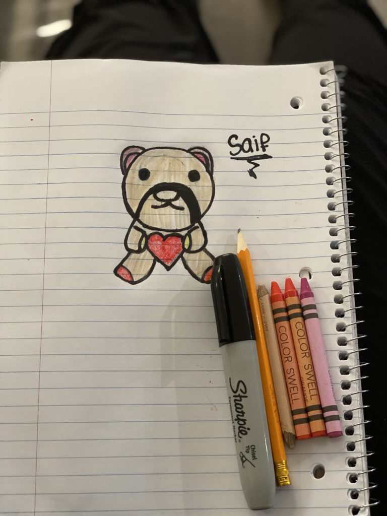 drawing of a bear holding a heart and wearing a mustache