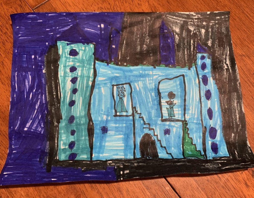 cool colored castle drawing