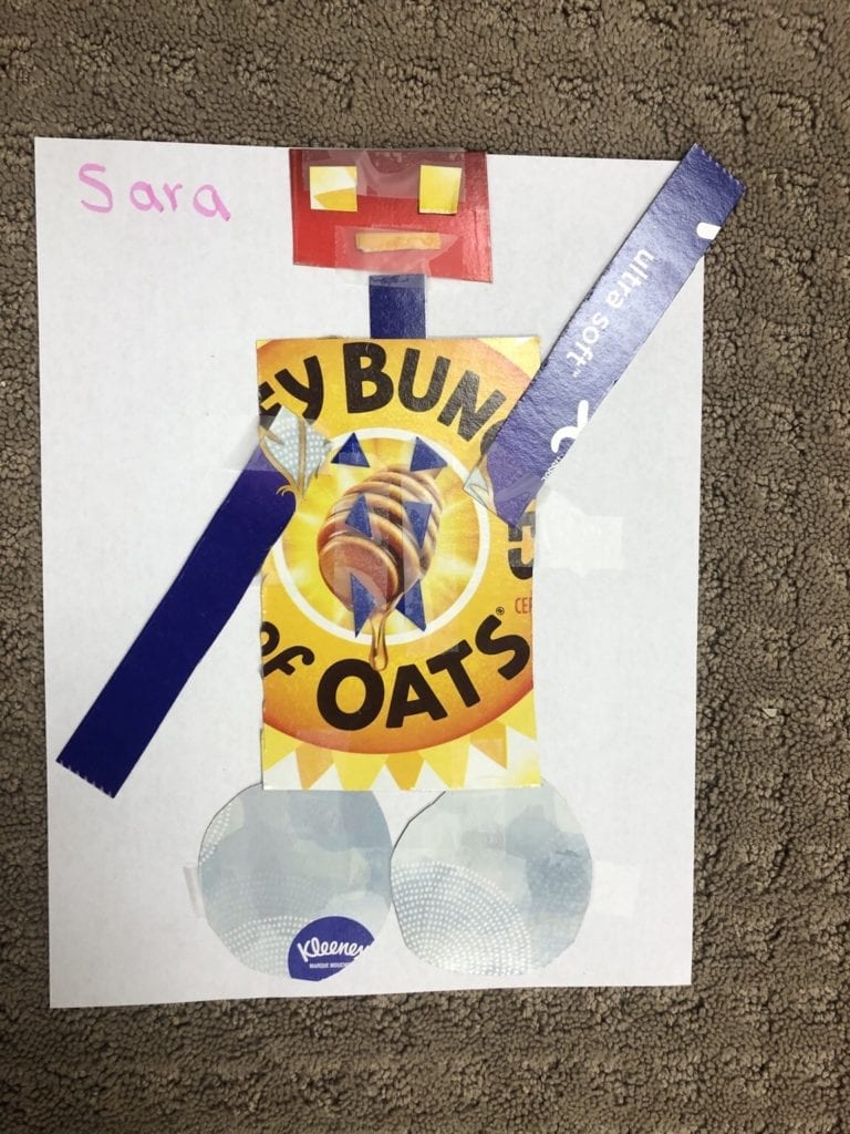robot made from shapes cut from recycled cardboard