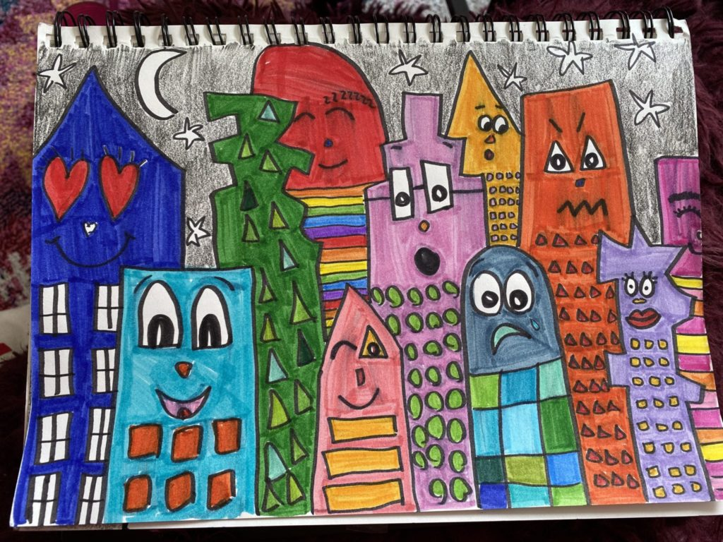 drawing of many colorful buildings that all have faces showing different expressions and a nighttime sky behind them