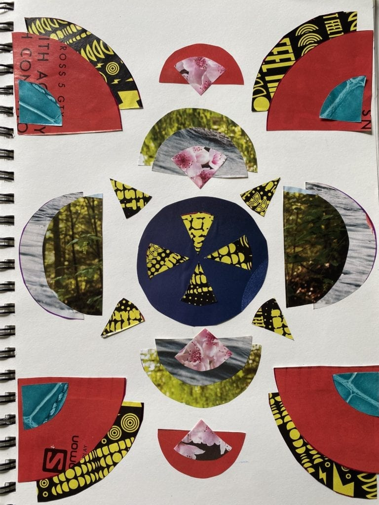collage made from circles and semi-circles that have been cut from images in a magazine and glued in a symmetrical pattern