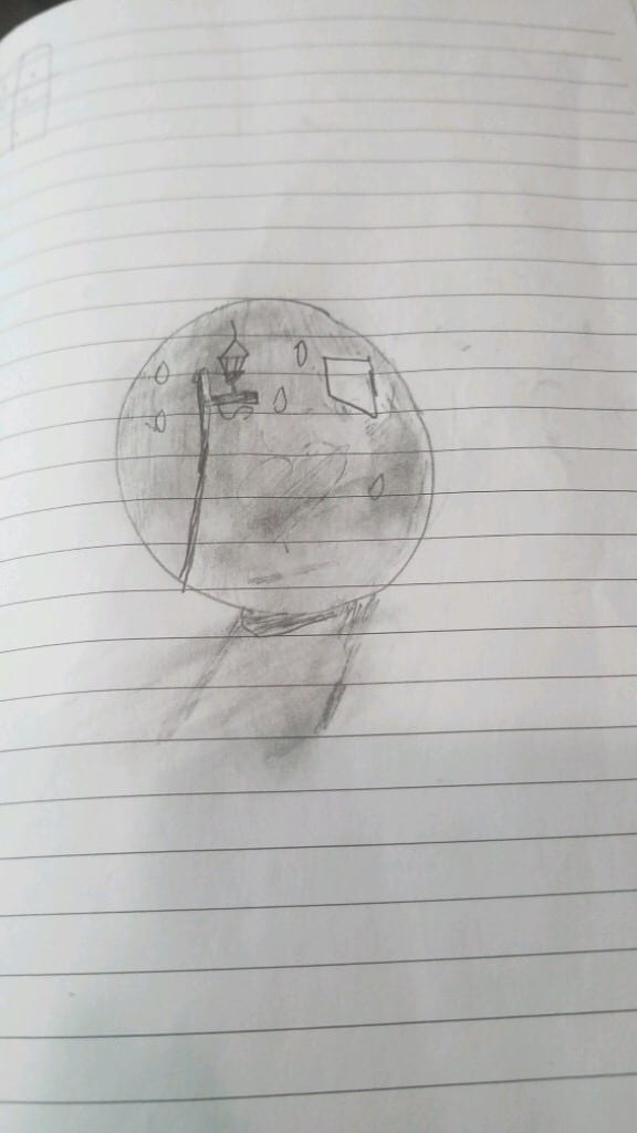 pencil drawing of a snowglobe shaded with pencil