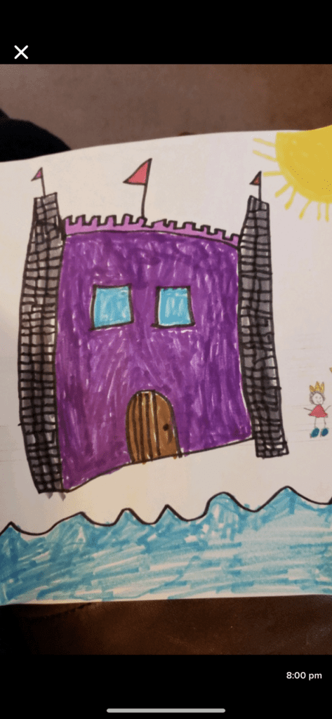 purple castle with water under it and a sun in the sky