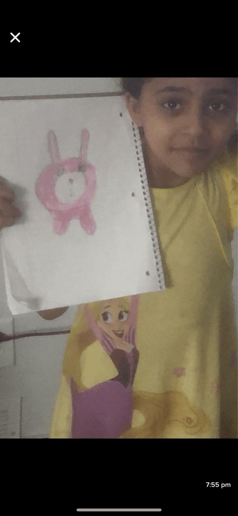 drawing of a pink stuffed animal