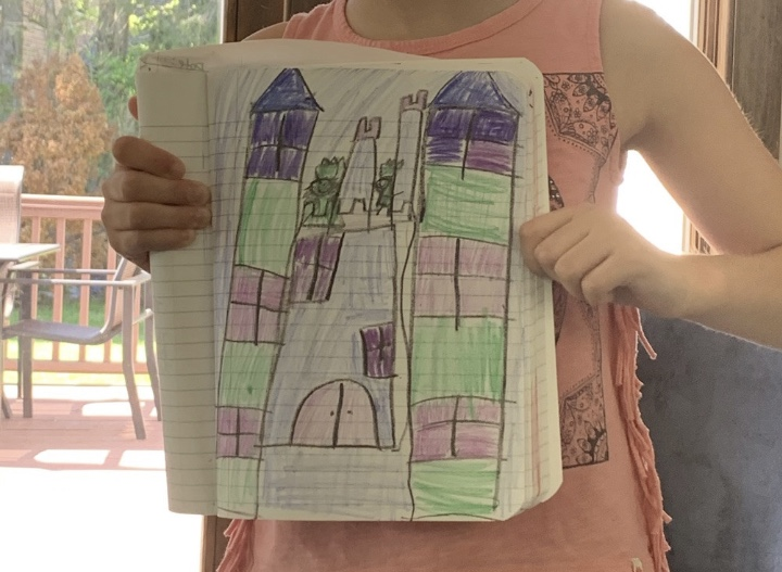 drawing of a castle colored with cool colors