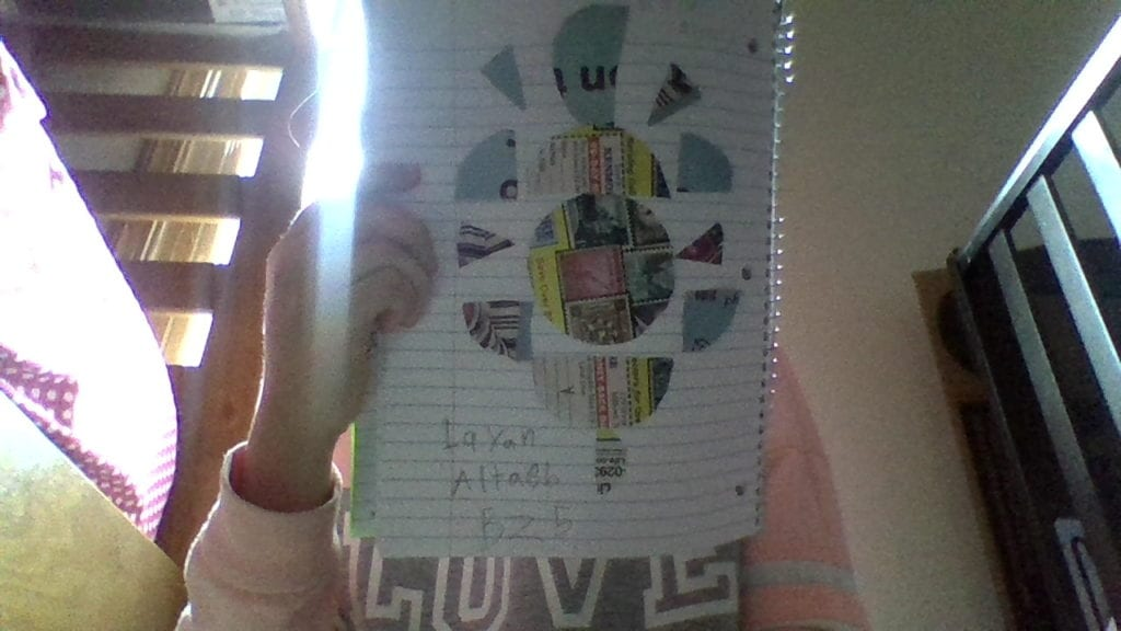 picture of a girl holding a circle and semi circle design collage