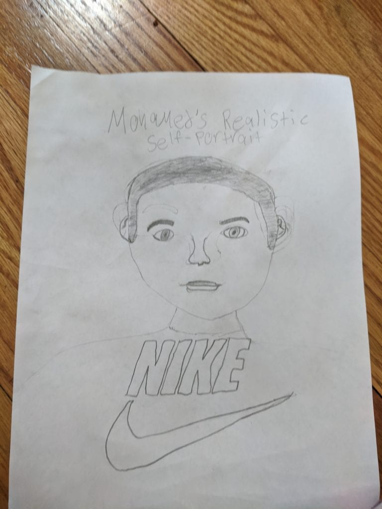 pencil line drawing of a person wearing a nike shirt