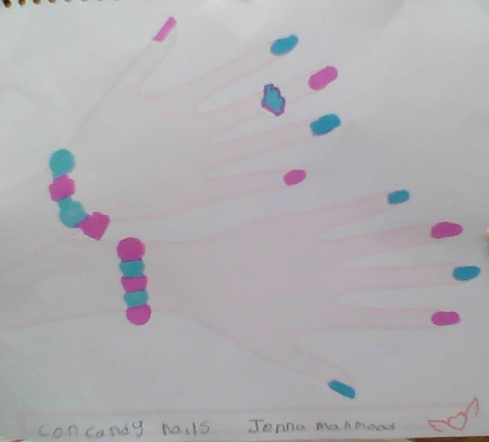 drawing of two hands with blue and pink nails and blue and pink jewelry