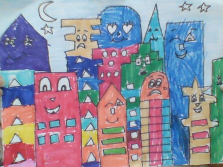 drawing of a city with colorful buildings that have faces