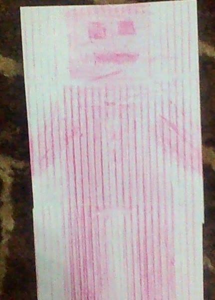 pink crayon rubbing of a robot