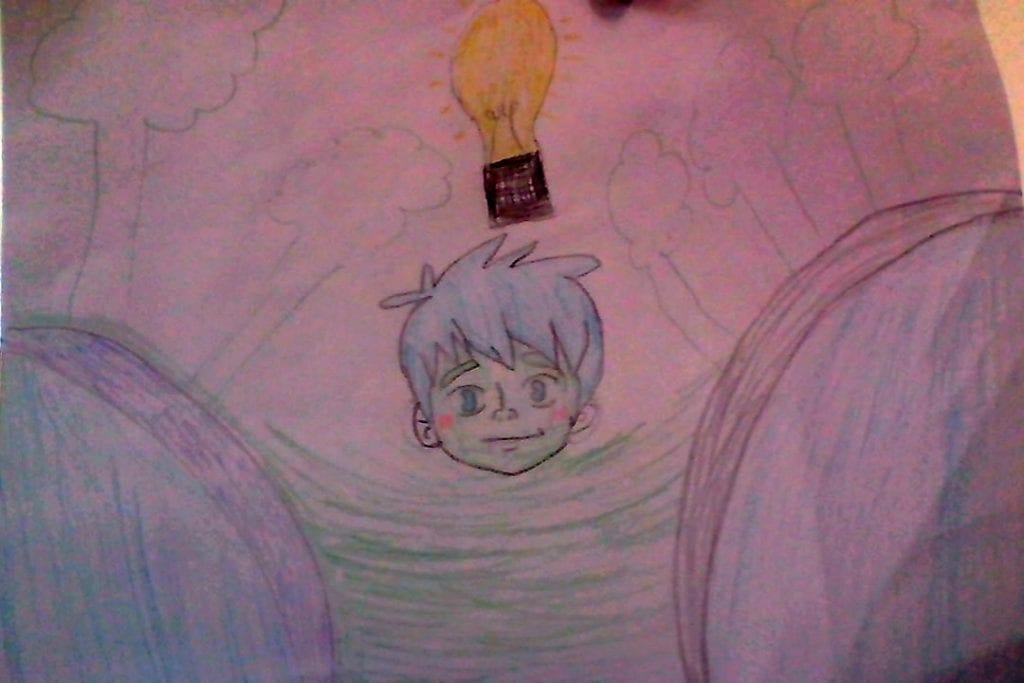 drawing of a boy's face with blue hair, green skin, a light bulb above his head, and trees