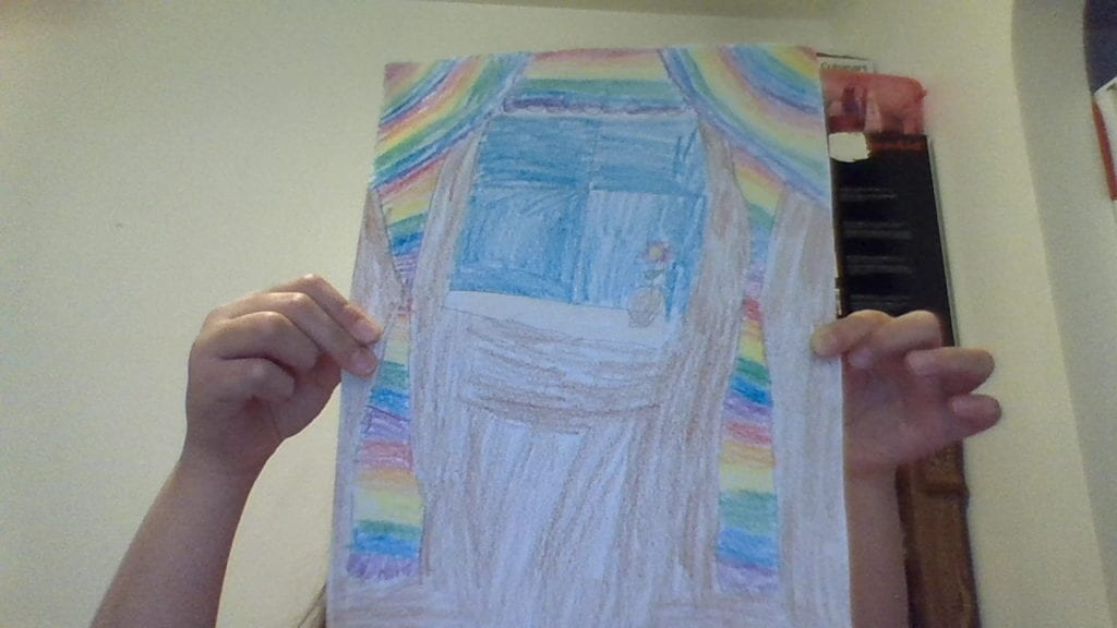 drawing of inside of a room with a window, flower on the sill, and rainbow curtains