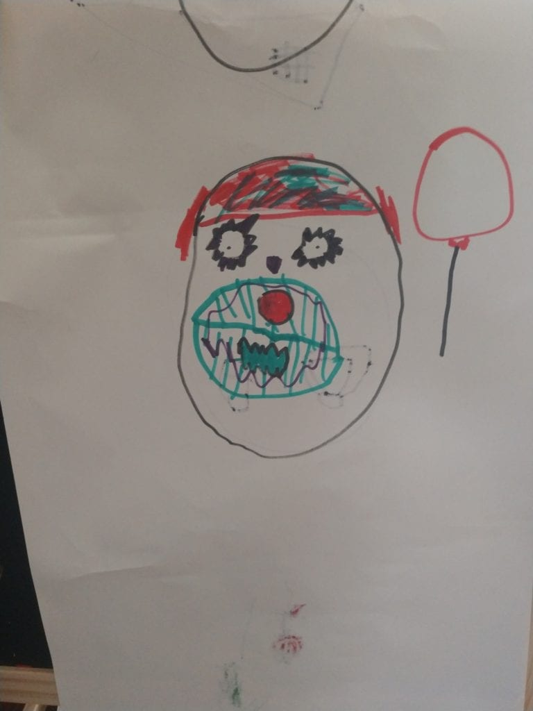 drawing of a scary clown face