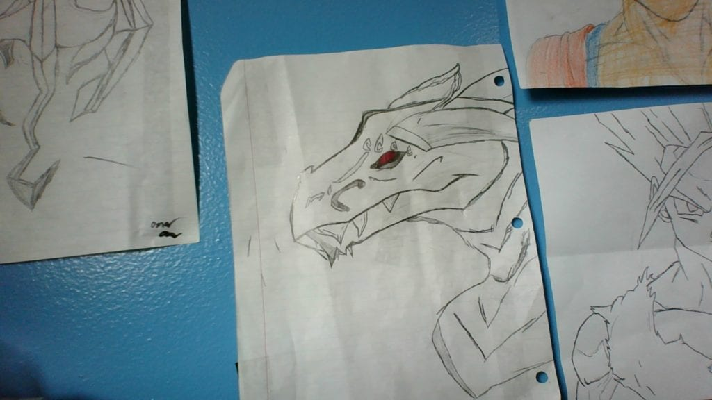 drawing of a dragon face