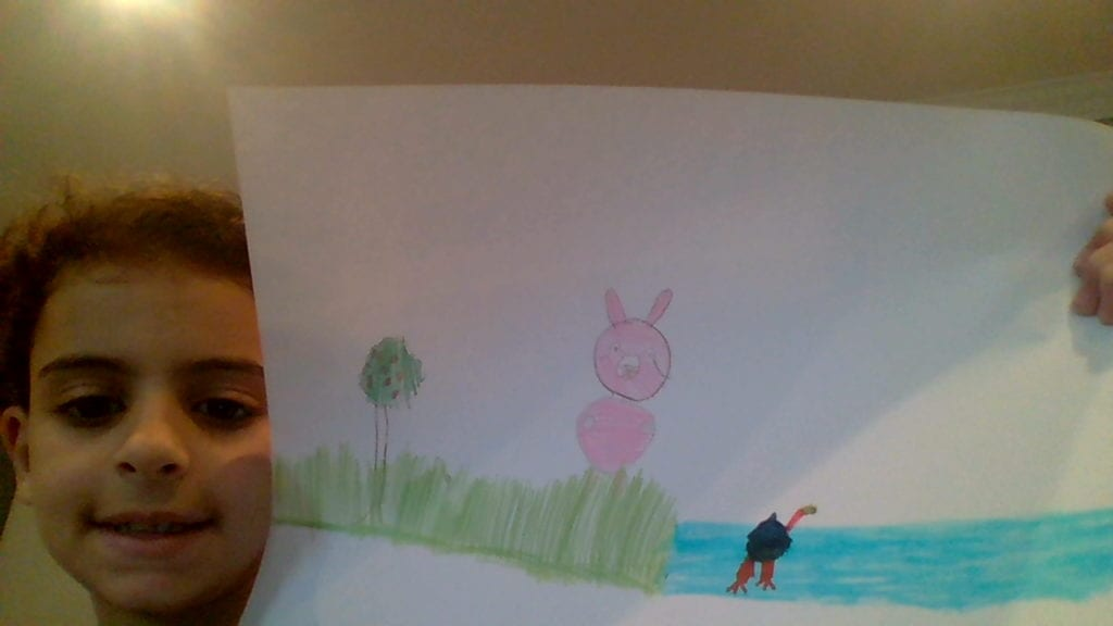 drawing of a pink bunny outside