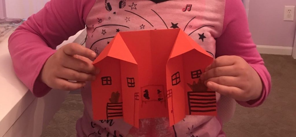 red origami house