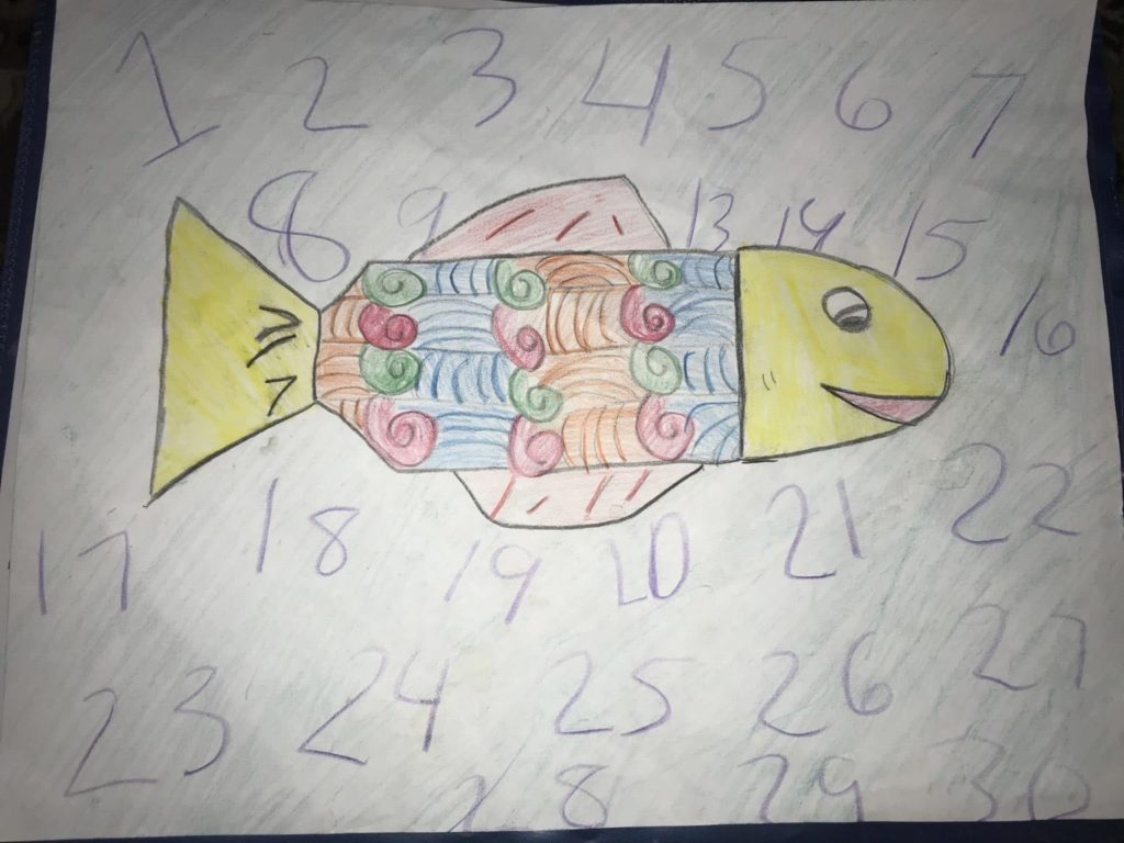 drawing of a fish with colorful patterns in its body and numbers around it