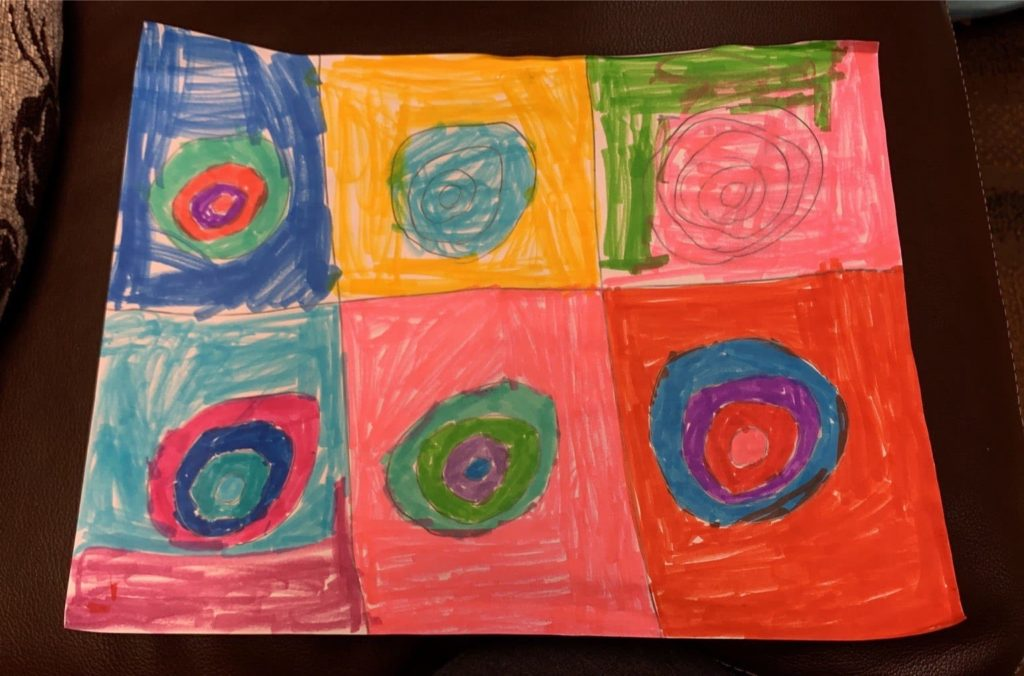 six boxes with concentric circles in each box colored with different colors