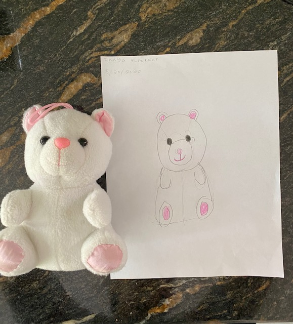 drawing of a stuffed white bear with pink ears and feet next to the real stuffed bear
