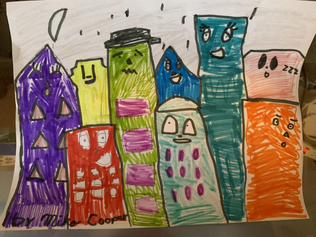 drawing of a colorful city with buildings that have faces