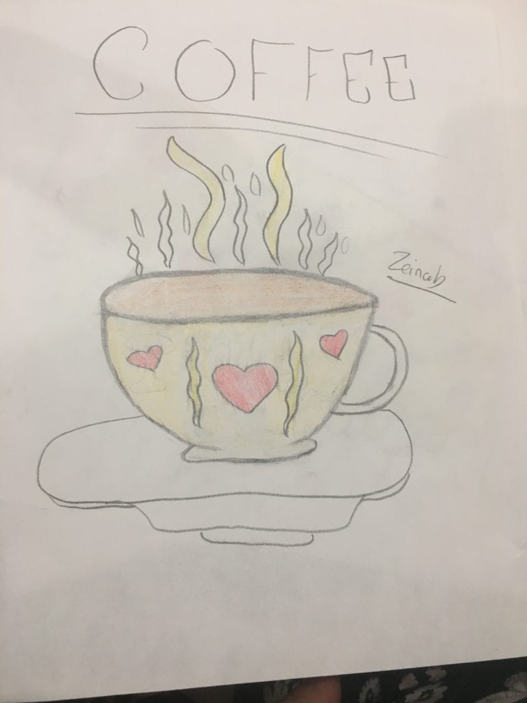 drawing of coffee cup with steam