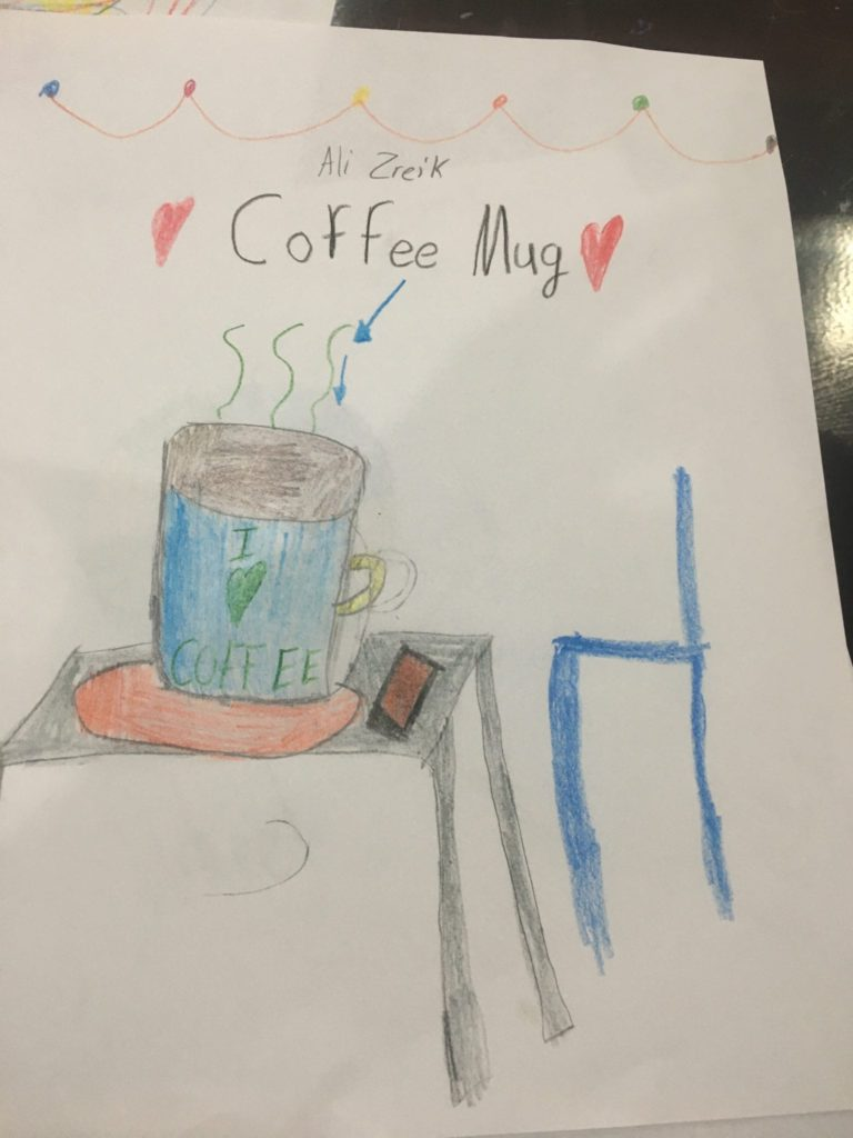 drawing of a coffee mug on a table