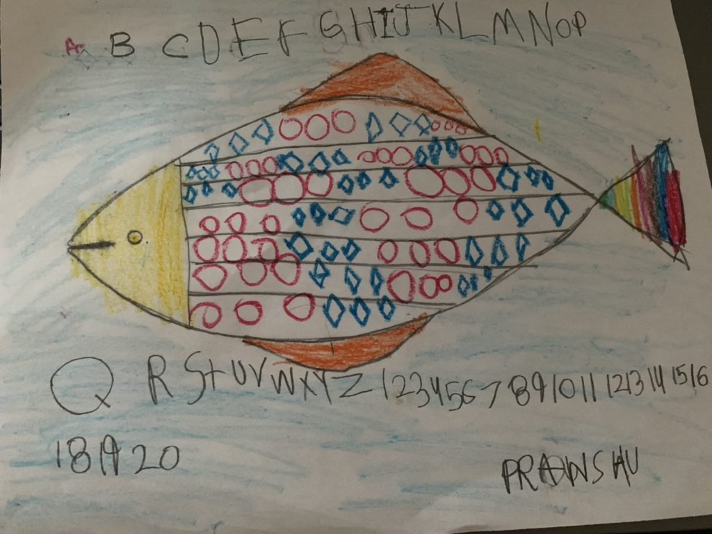 patterned fish drawing