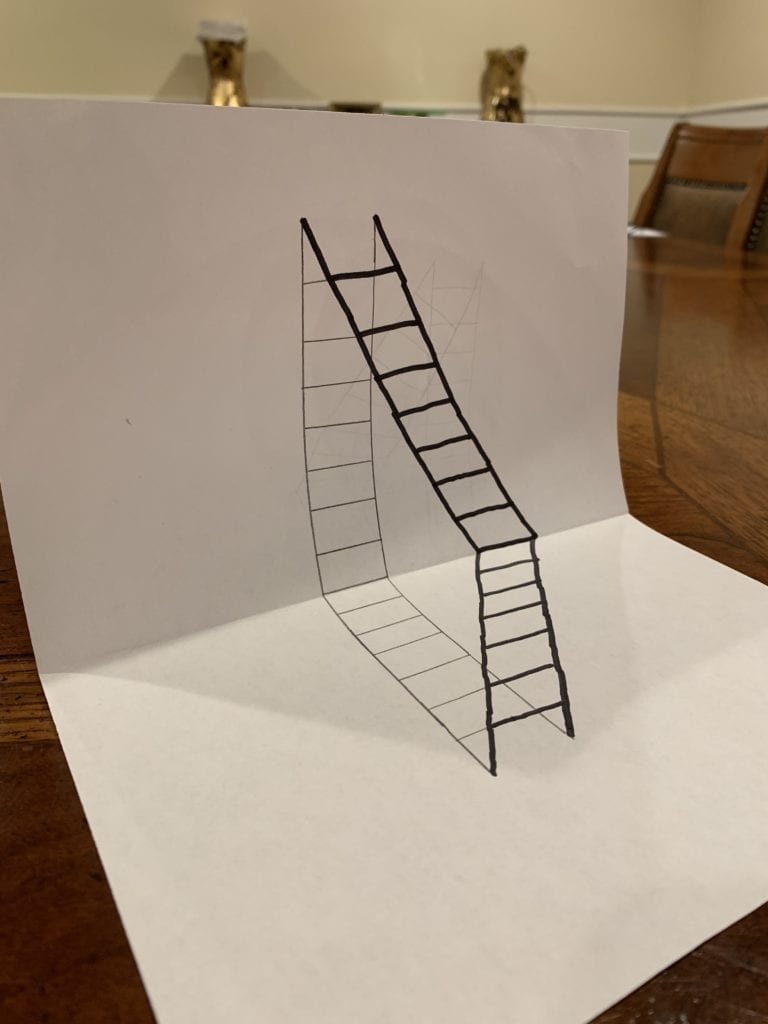 illusion drawing of a ladder