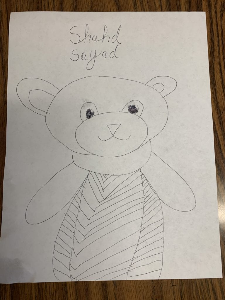 pen drawing of a bear with stripes on its torso