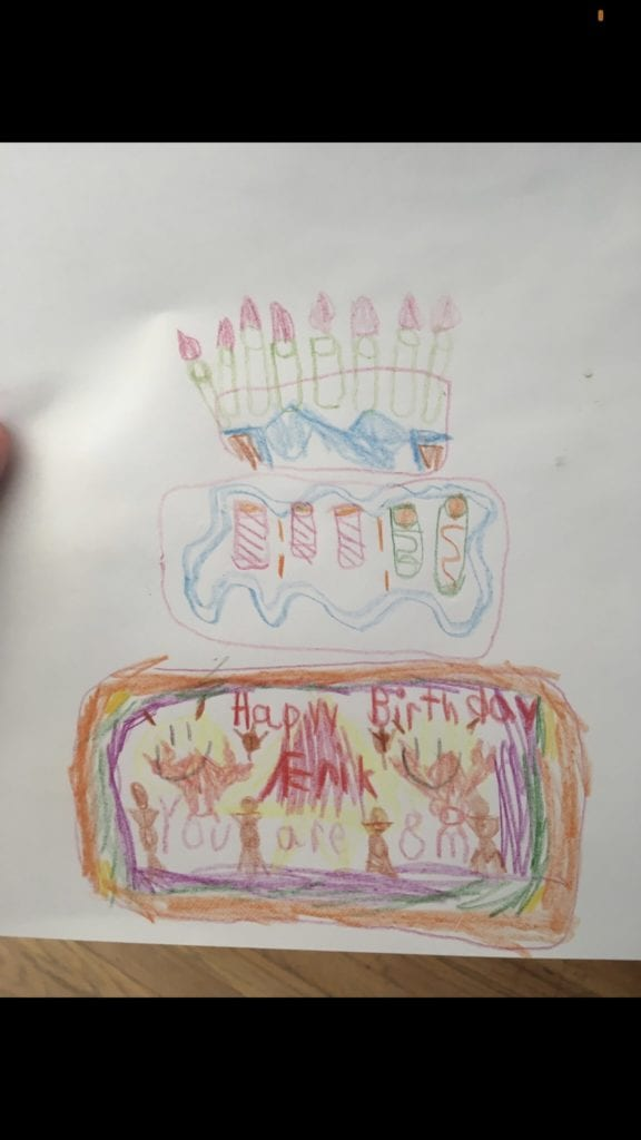 drawing of a birthday cake