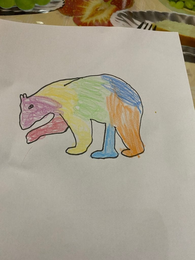 drawing of a colorful bear