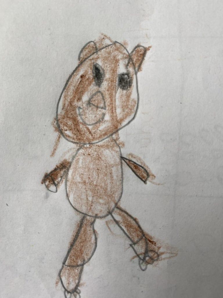 drawing of a brown stuffed bear