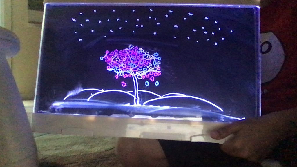 light up drawing of a tree