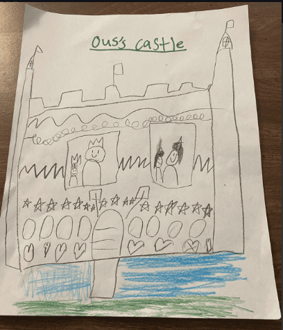 pencil drawing of a castle with patterns in the castle and blue and green colored under the castle