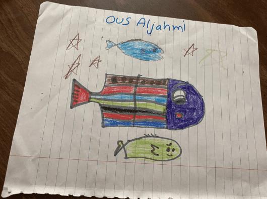drawing of three fish