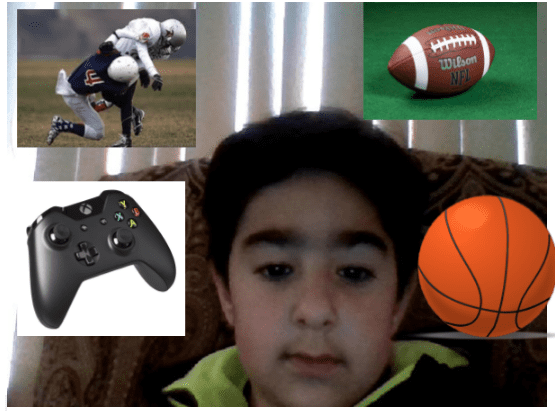 collage of a boy with sports and a video game controler around him