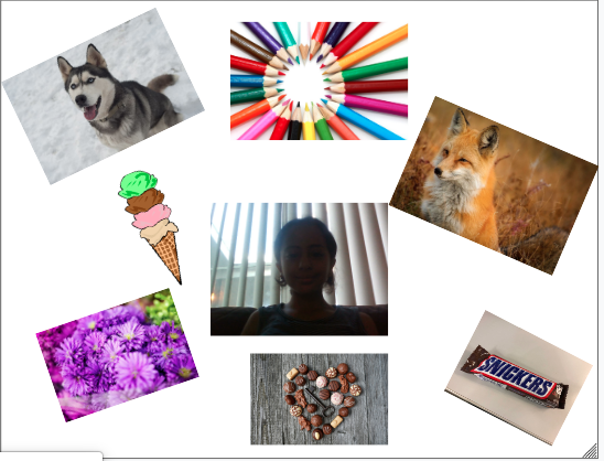 collage of a giel surrounded by colored pencils, ice cream, flowers, chocolate, and a fox