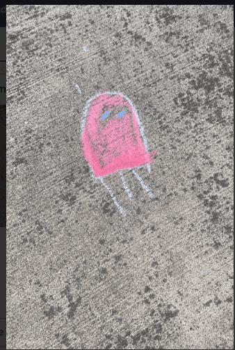 sidewalk chalk drawing of a jellyfish