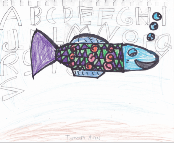 colorful fish with patterns in its body and bubbles floating above its mouth