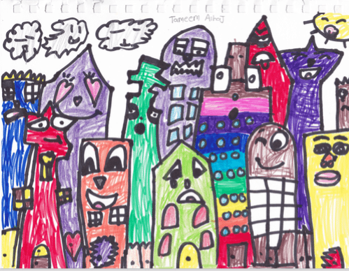 colorful overlapping buildings with faces