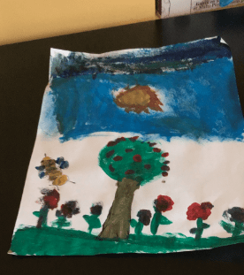 painting of a tree, bee, and flowers with a blue sky and sun