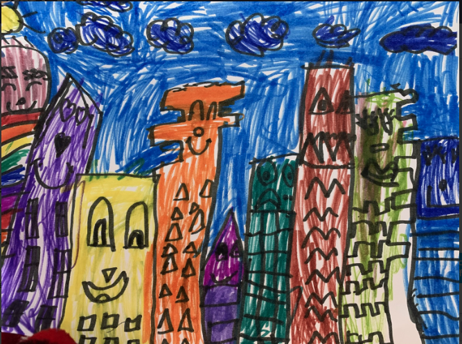 drawing of many buildings that are different colors and have different faces and patterns on them