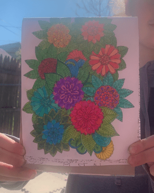 drawing of colorful flowers surrounded by leaves