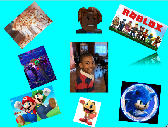 digital collage with picture of a boy in the center and pictures of video game characters, pizza, and robolox surrounding him