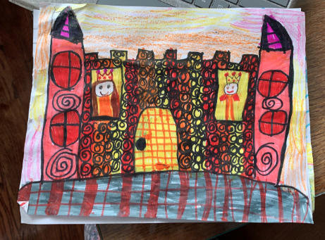 warm colored castle filled with windows and swirls