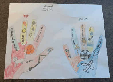 two hands drawn and colored with many colors and filled with drawings such as a basketball, soccerball, scooter, cat, airplane, and the beach