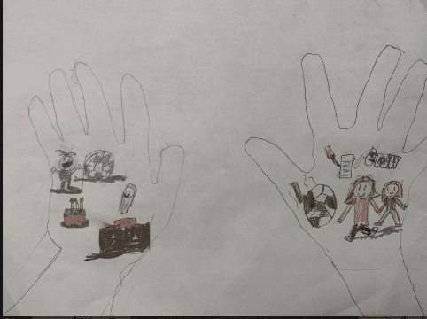 Drawing of two hands filled with other drwings of people, soccer balls, a baby, and a pencil and book