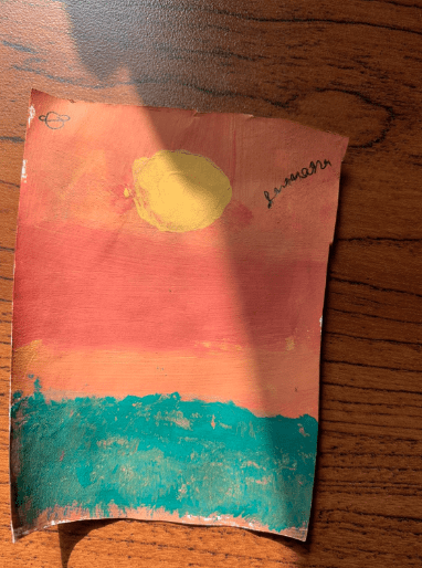 a painting of a sunset